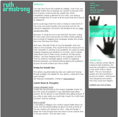 Ruth Armstrong's site home page